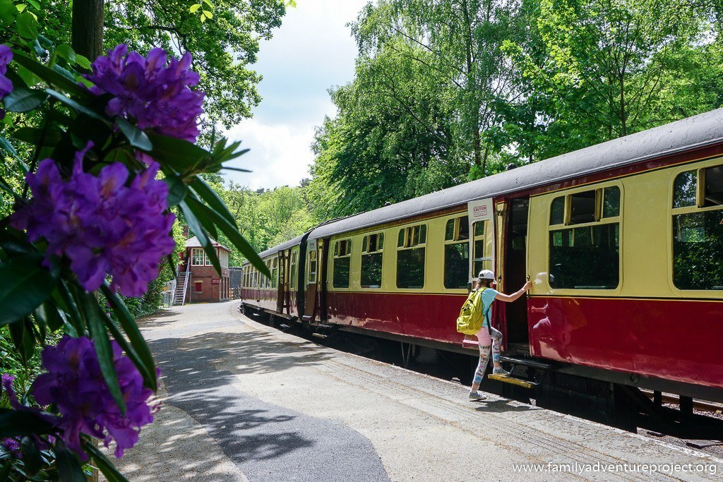 Boarding the Lakeside and Haverthwaite Railway at Lakeside
