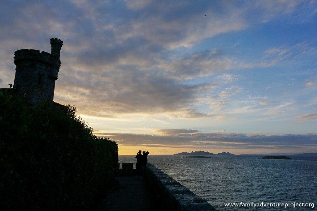 Contemplating the sky and sea on the ramparts at Parador de Baiona