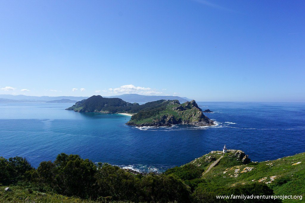 Looking across to San Martino from Isla do Medio, Islas de Cies, Galicia, Spain