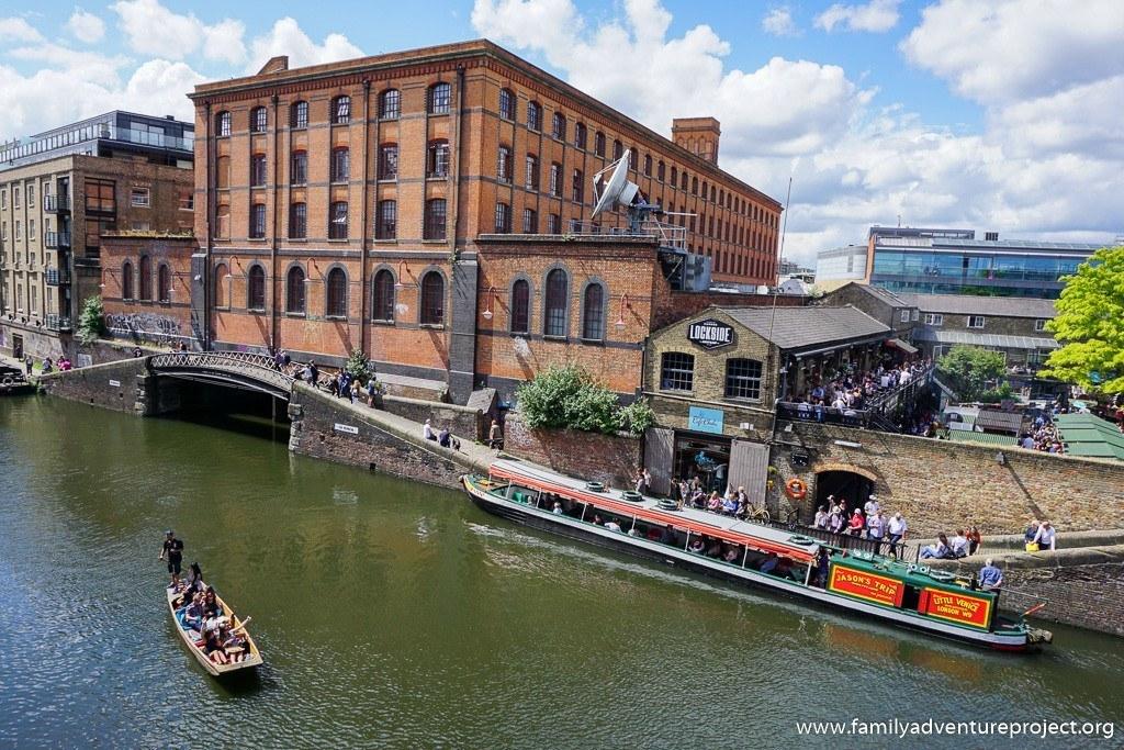 Gondola on the canal near Camden Lock, London