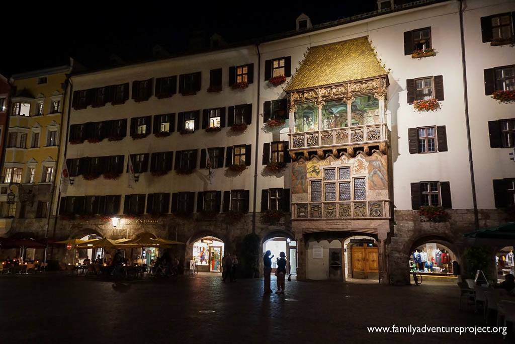 The Golden Roof (Goldenes Dachl) at night, Innsbruck, Austria