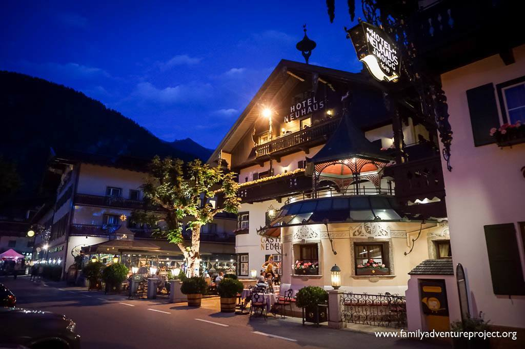 Hotel Neuhaus at night,Mayrhofen,Austrian Tirol