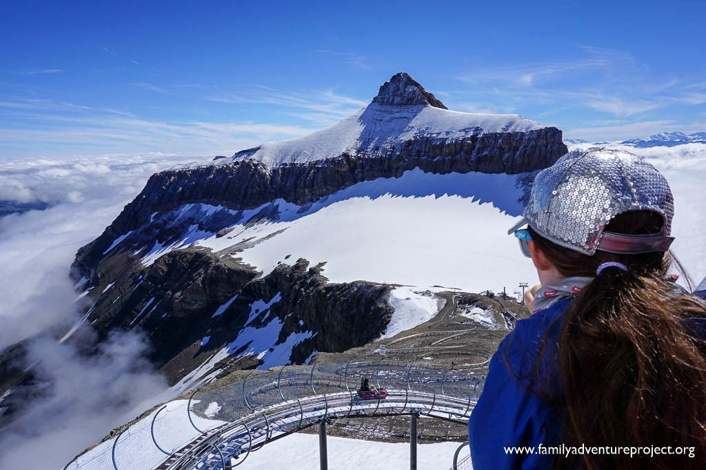 Looking across to the Oldenhorn (Becca d'Audon) and down on the Glacier 3000 Alpine Coaster in Les Diablerets, Switzerland