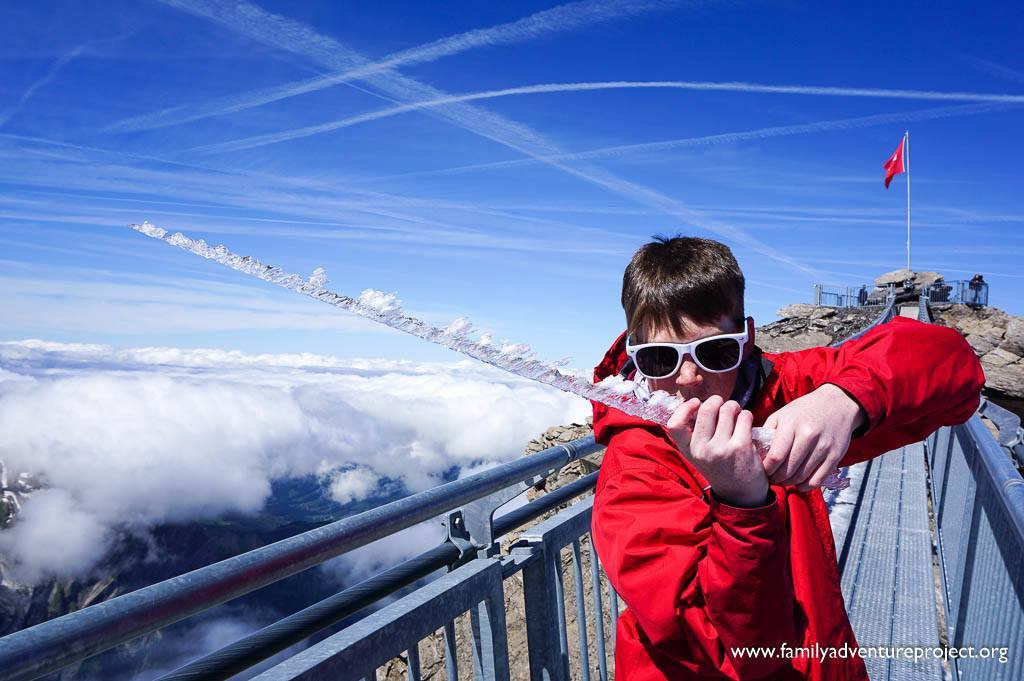 Ice devil on Peak to Peak walk above Les Diablerets, Switzerland