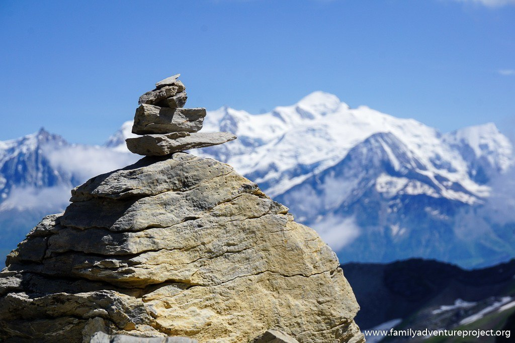Views across to Mont Blanc from Grandes Platieres, Flaine, French Alps