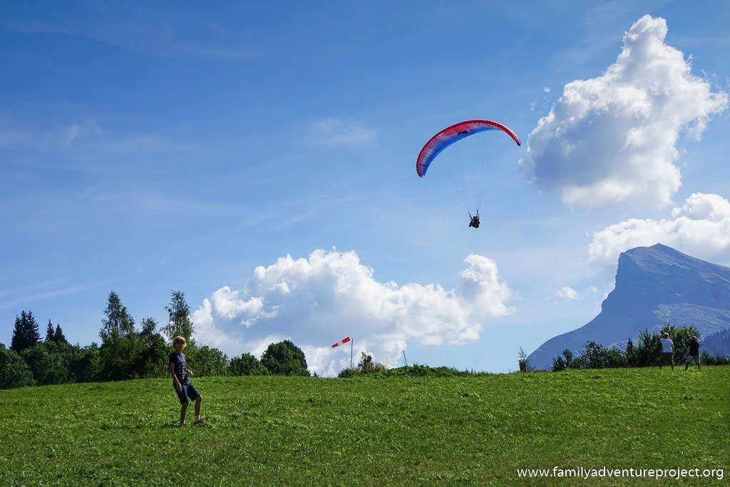Parapente coming into land at Les Carroz, French Alps