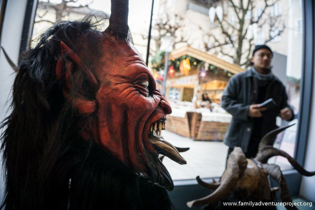 Krampus mask by Stefan Kroidl on display in Salzburg