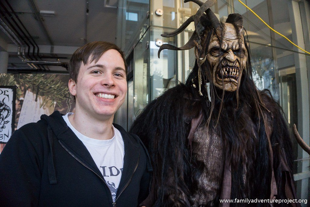 Stefan Kroidl with one of his Krampus creations on display in Salzburg.