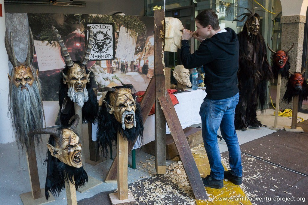 Stefan Koild at work making Krampus Masks in Salzburg