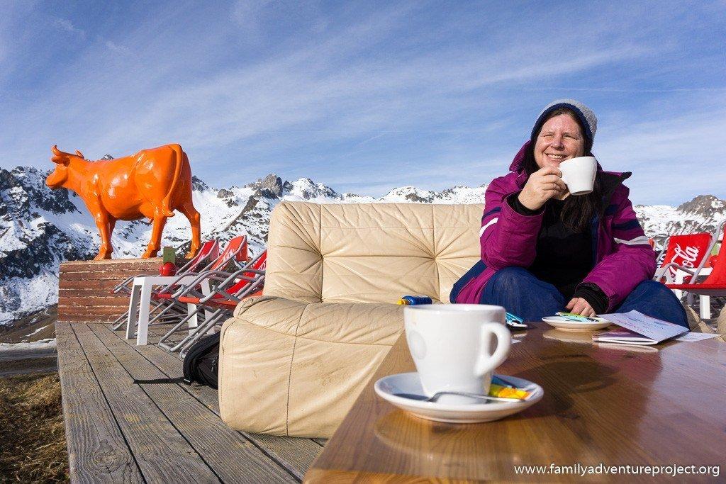 Enjoying coffee at La Vache Orange Valmorel