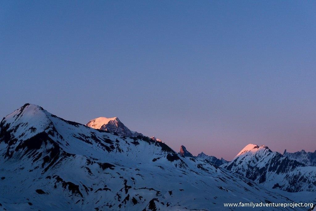 Mont Blanc sunset from top Le Roc Noir, La Rosiere