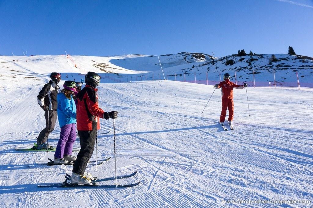 ESF ski lesson on the slopes at La Rosiere