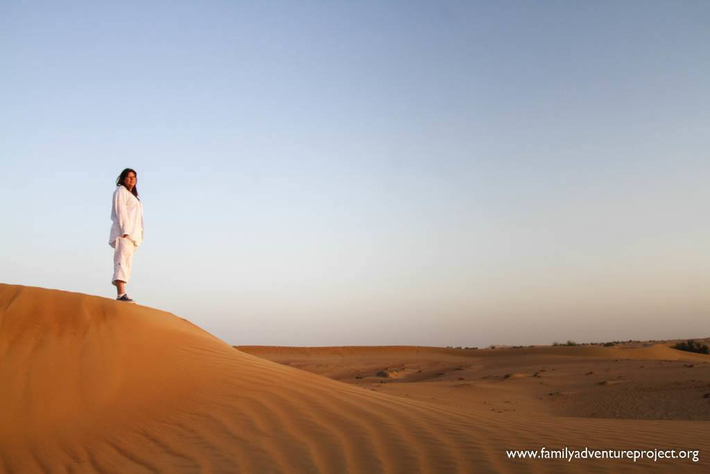Waiting for the sunrise in the Dubai desert