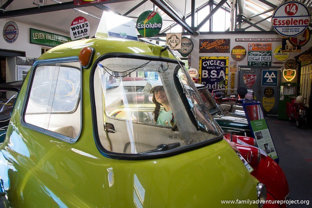 Checking out the Scootacar at the Lakeland Motor Museum