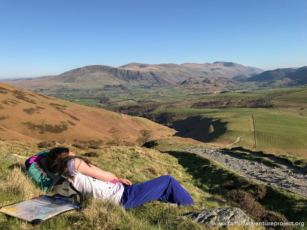 Stopping for a rest on the hike up Skiddaw