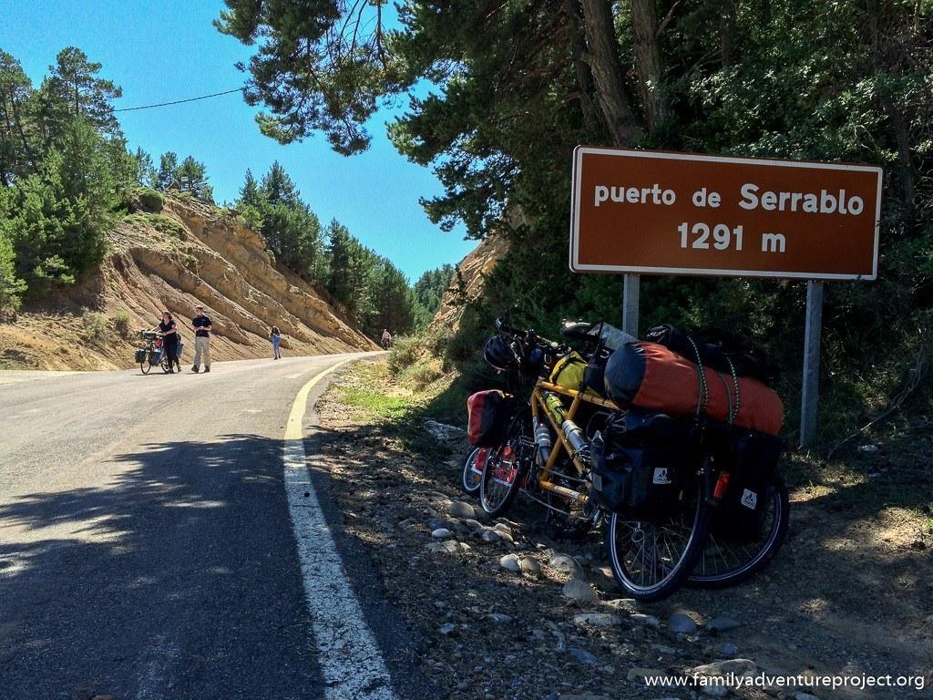 Bikes at the summit of Puerto de Serrablo, Aragon, Spanish Pyrenees