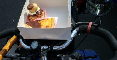 Fresh Cream Cakes on Bicycle Handlebar