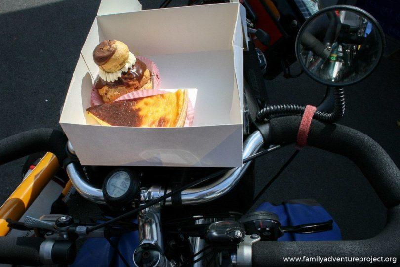 Fresh Cream Cakes on Bicycle Handlebar