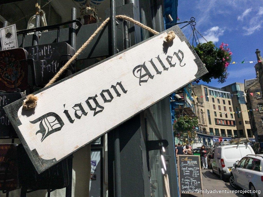 Diagon Alley sign outside Context, Victoria Street, Edinburgh