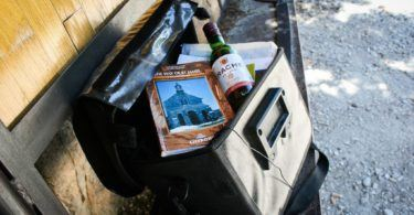 Wine in the bar bag for cyclists