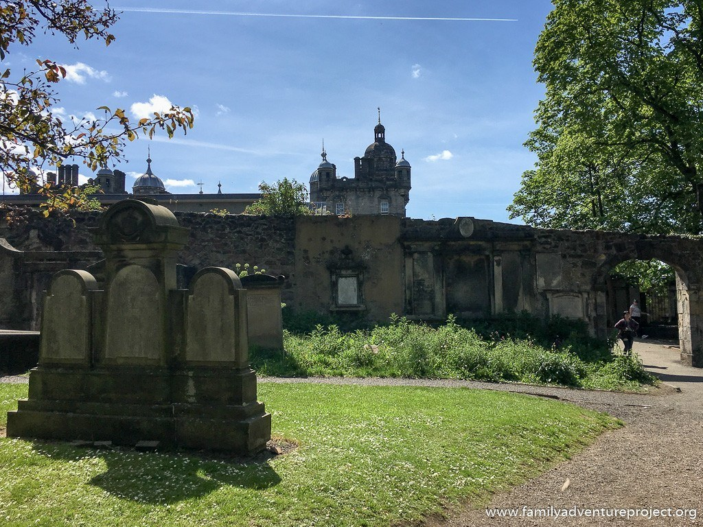 George Heriot school seen from with grounds of Greyfriars Churchyard, Edinburgh