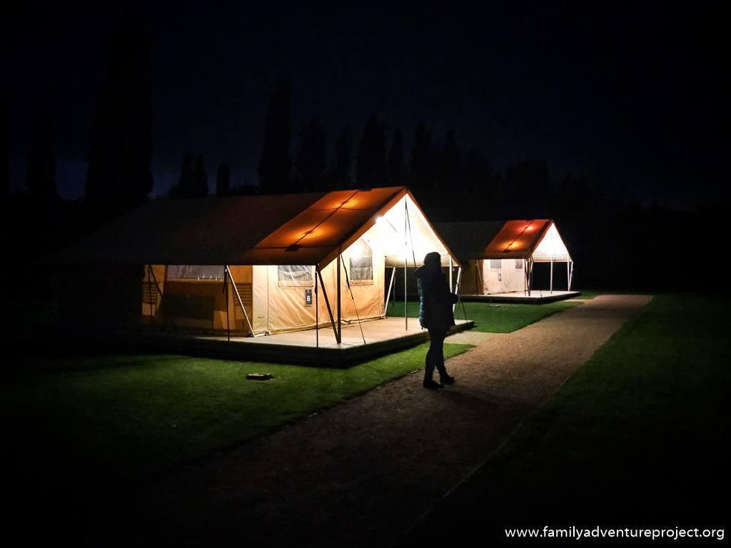 ReadyCamp Safari Tents looking welcoming at night