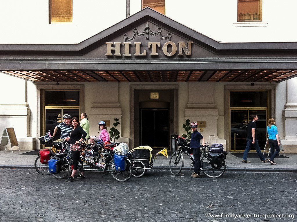 Cycling family at the Budapest Hilton