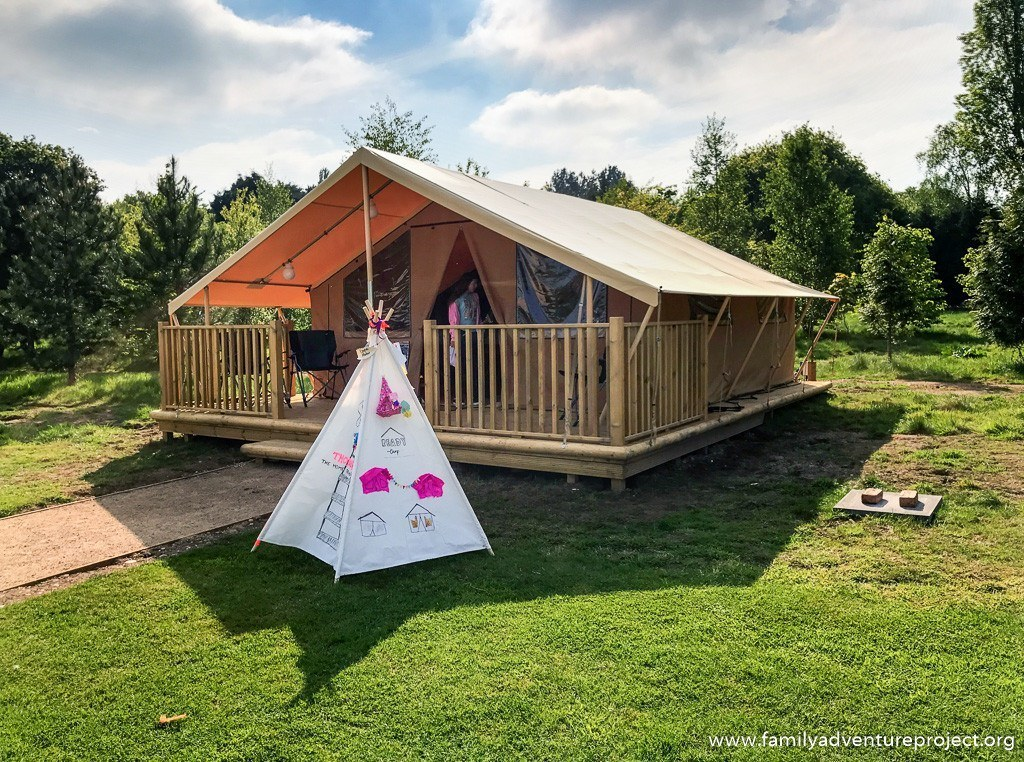ReadyCamp Safari tent with our decorated Tipi outside
