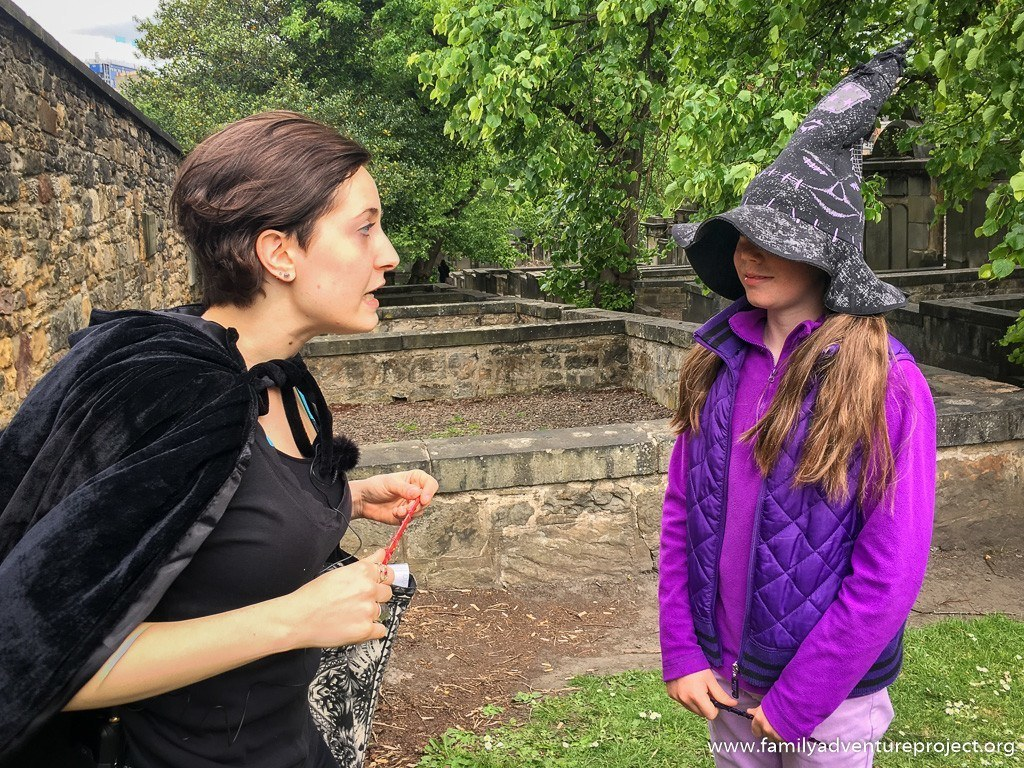The sorting hat works its magic on a Harry Potter Trail in Edinburgh, Greyfriars Churchyard