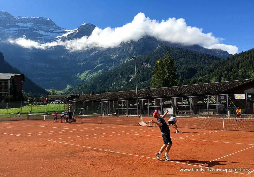 Playing tennis in Les Diablerets in Summer