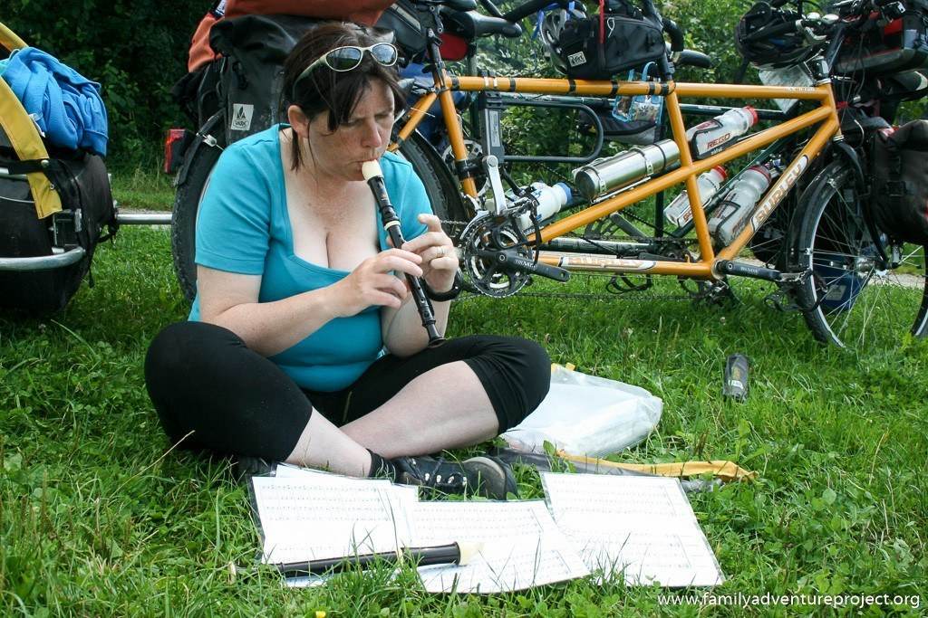 Practicing the recorder on a cycle tour
