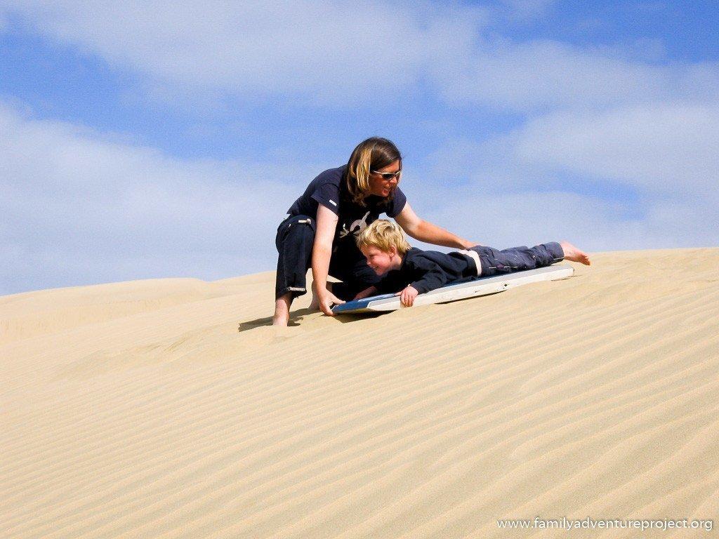 Sand Surfing on Te Paki Sand Dunes New Zealand