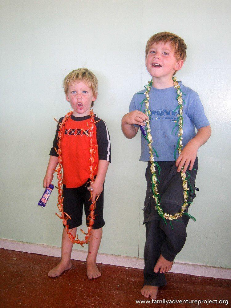 Boys dressed in their Samoan garlands