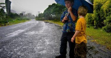 Waiting in the rain in Samoa