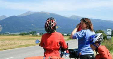 Cooling off with flannels while cycling in the Tatras