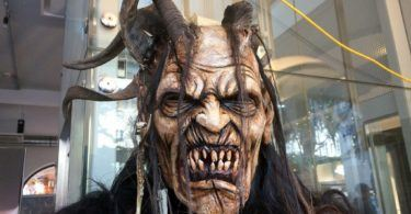 Krampus mask and costune by Stefan Kroidl on display in Salzburg