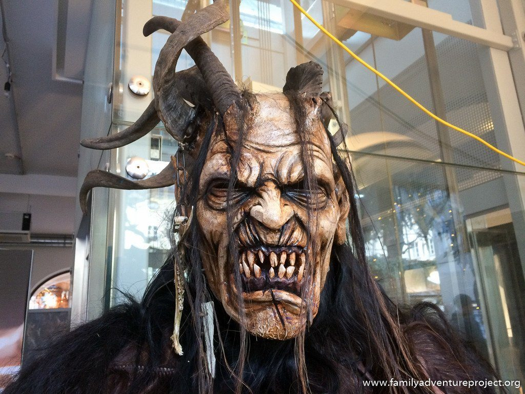 Krampus mask and costune by Stefan Kroidl on display in Salzburg
