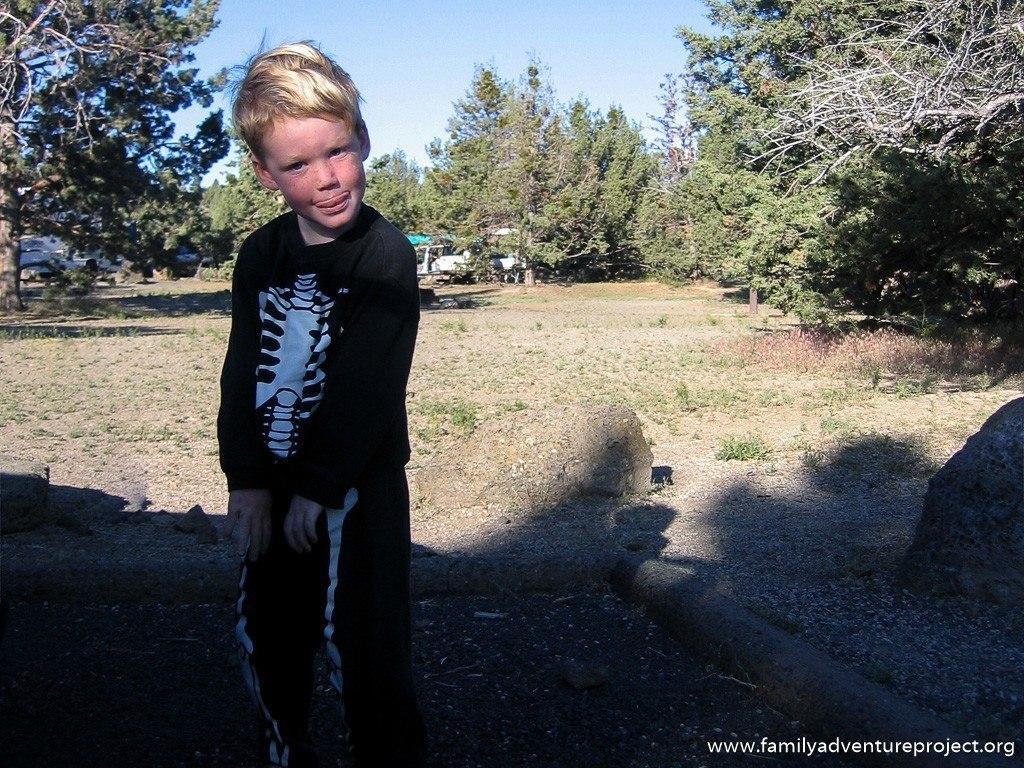 Boy in skeleton pyjamas