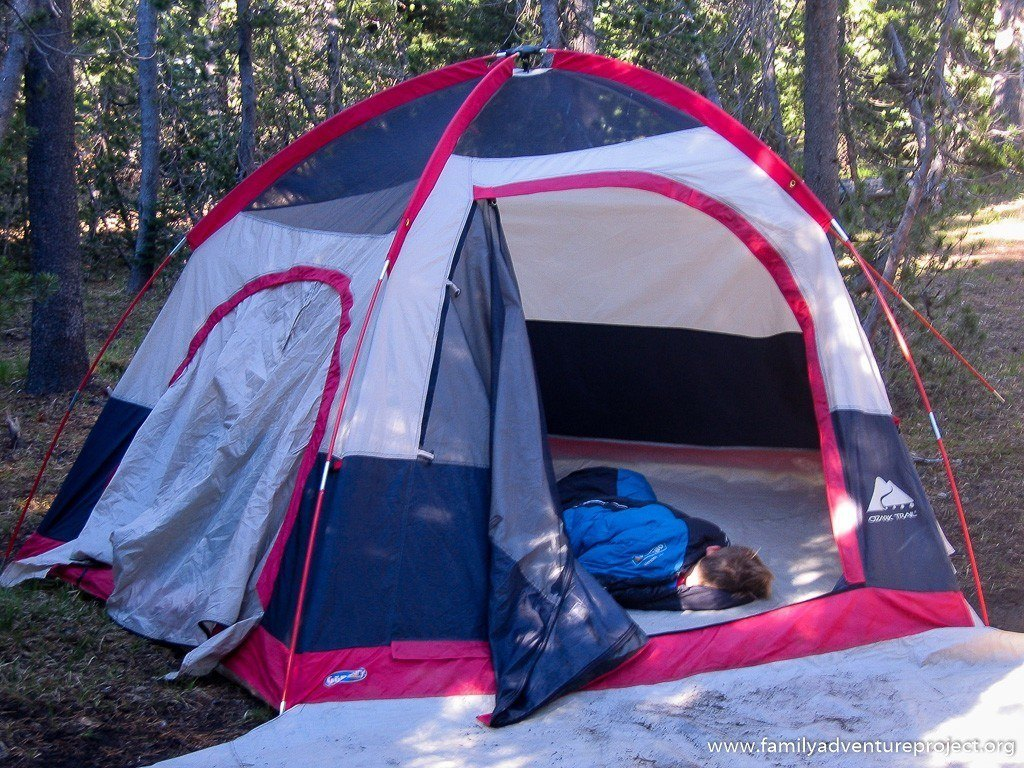 Waking up in the morning in a tent