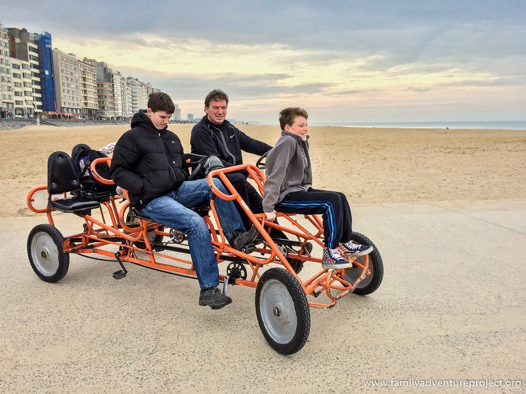 Six Person Bicycle Go Kart on Beach in Ostend, Flanders coast.