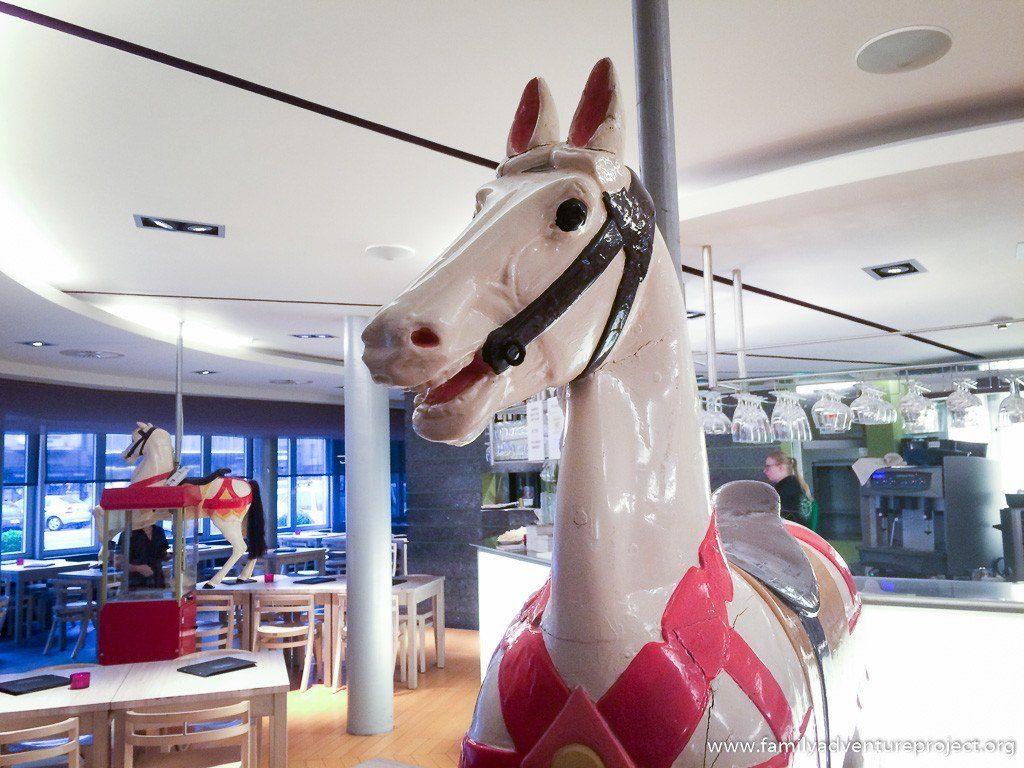 Carousel horse in restaurant of Hotel Cosmopolite, Nieuwpoort, Flanders, Belgium