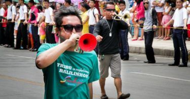 Bugle players in the Sandugo Festival Parade in Tagbilaran