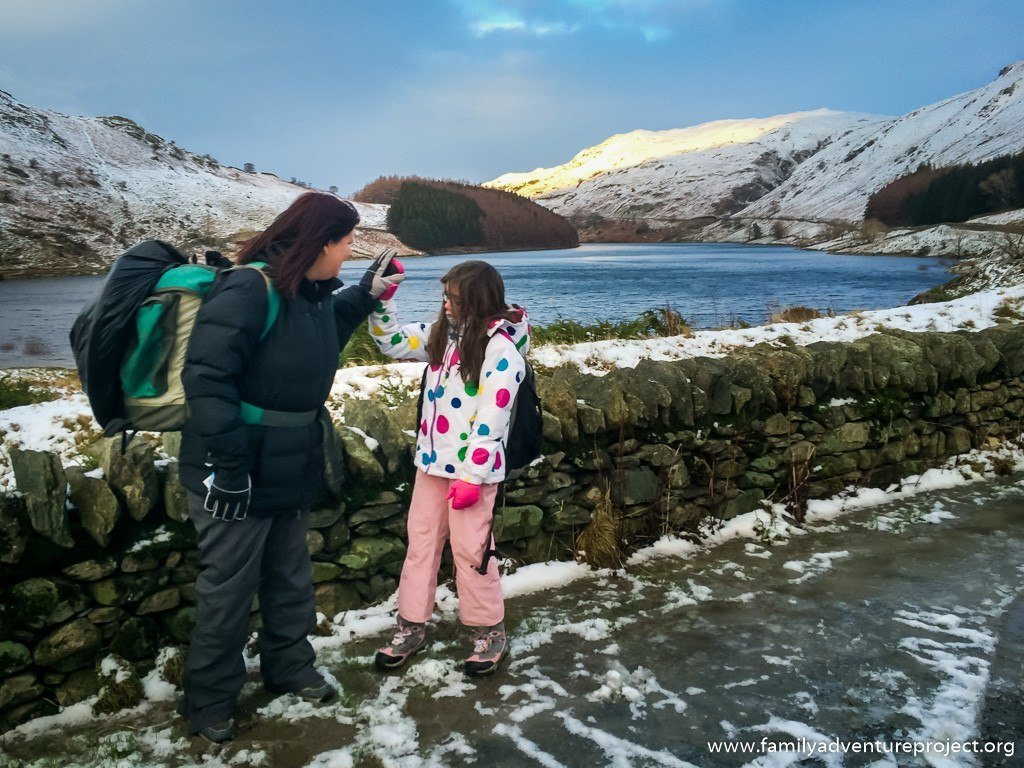 Kirstie and Hannah high five at Haweswater
