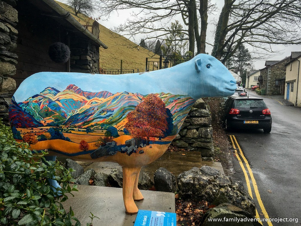 Ewe with a View by Libby Edmondson takes in the scene on the backstreets of Ambleside
