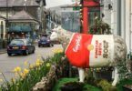 The Souper Ewe, Rosemaaaary, by David Penn, distracts the traffic outside Smallwood House Hotel, Ambleside