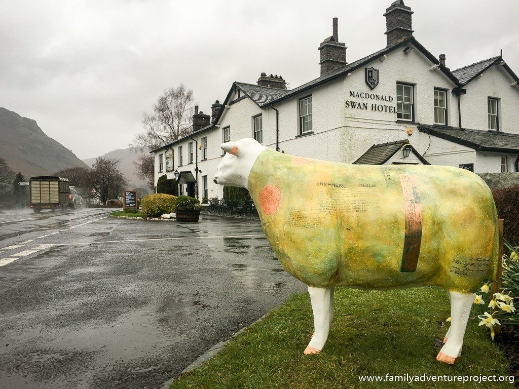 Rebecca Heaton Cooper's 'Mathilde' outside the Swan Hotel in Grasmere, part of the #GoHerdwick flock