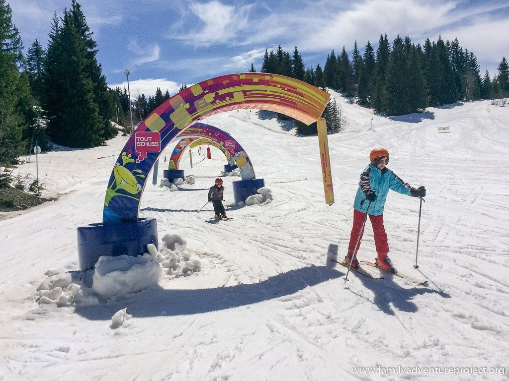 Skiing Opoualand Family Fun Ski Run in La Clusaz