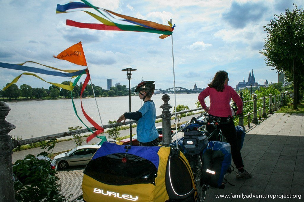 Arriving in Cologne on Rhine Cycle Path