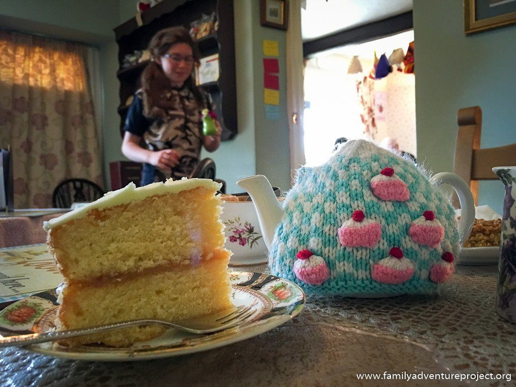 Knitted Tea Cosies and Lemon Drizzle Cake in the Cowan Bridge Tea Room