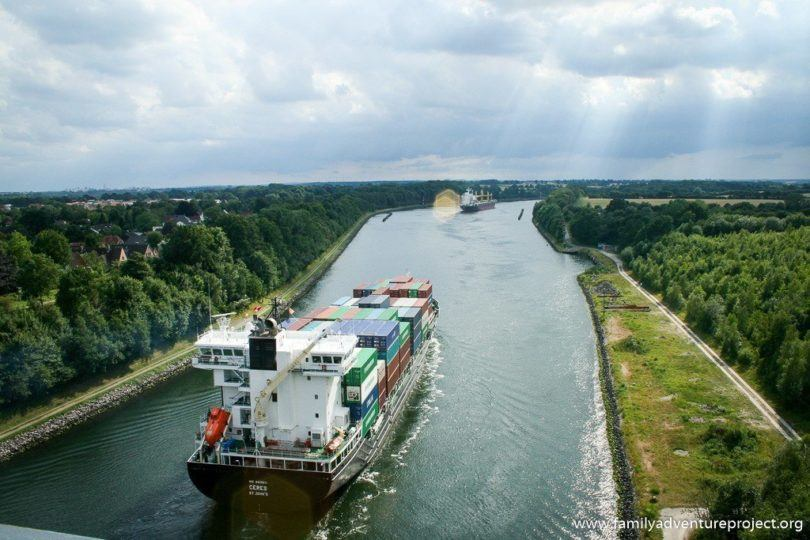Cargo ships heading towards Kiel on canals